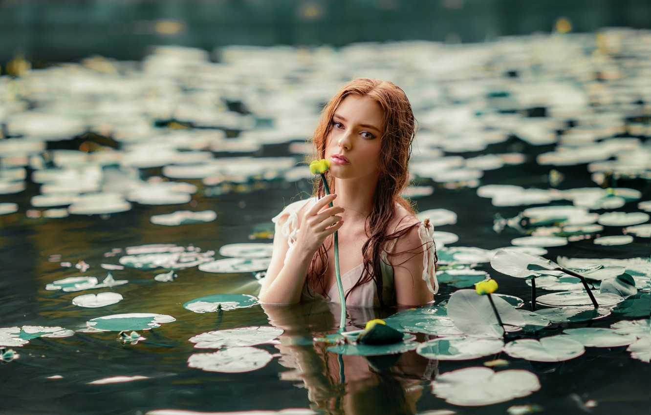 Photo wallpaper look, leaves, girl, face, lake, mood, the situation, water lilies, Olga Boyko