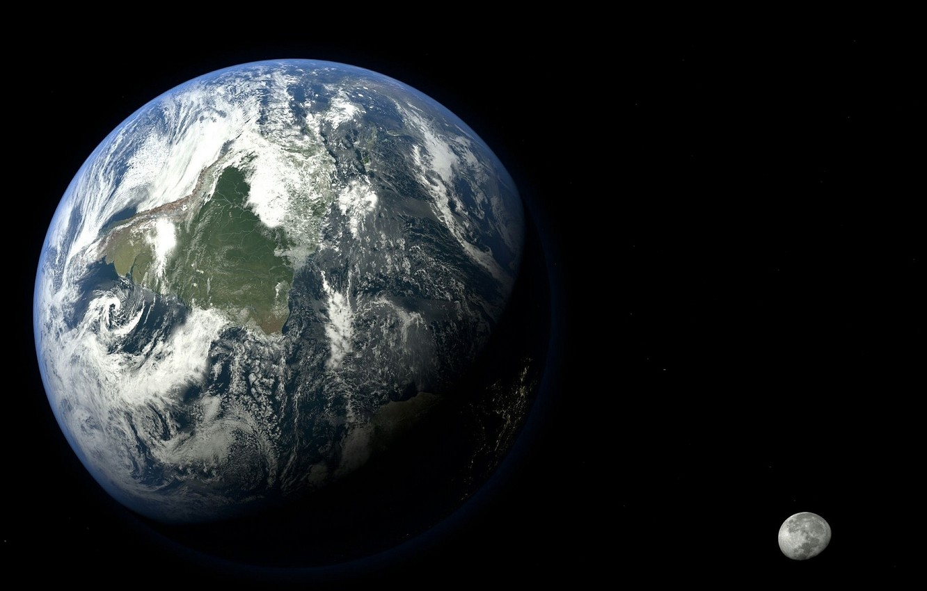 Photo wallpaper space, earth, the moon, the world, planet