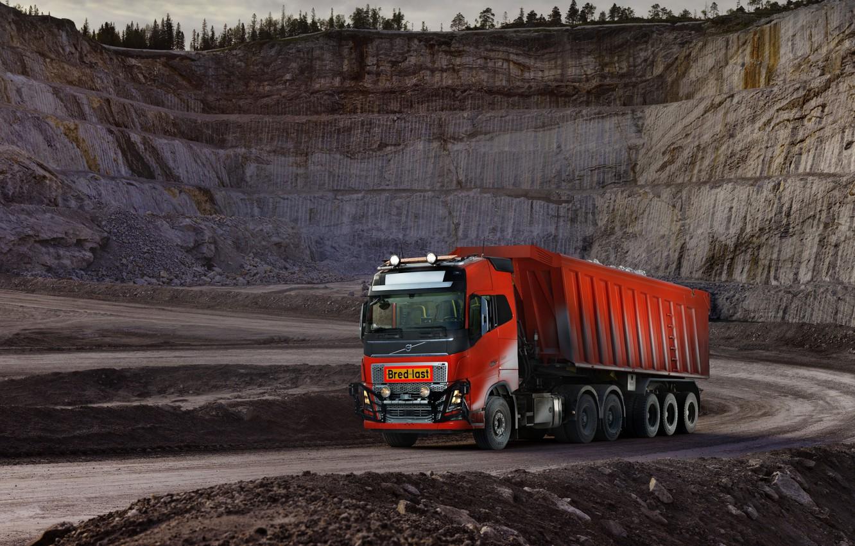 Photo wallpaper Volvo, body, tractor, quarry, triaxial, the trailer, Volvo FH