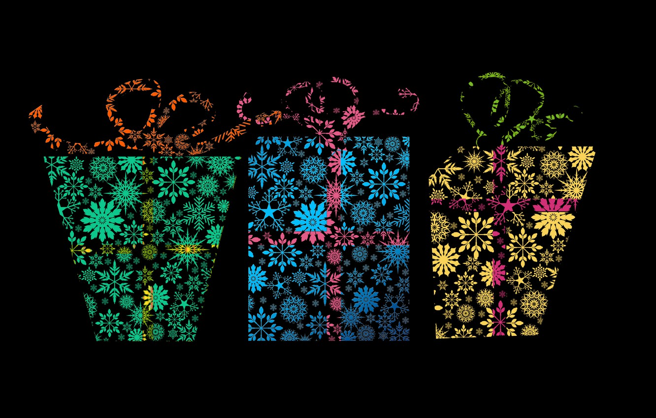 Photo wallpaper snowflakes, pattern, vector, texture, gifts, three, black background, bows, ornament, box