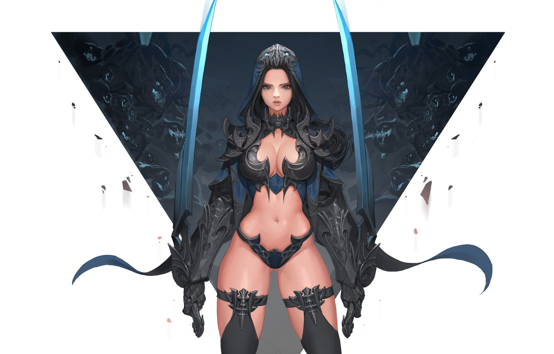 Photo wallpaper Girl, Fantasy, Beautiful, Sexy, Art, Style, Concept Art, Demon Hunter, Minimalism, Sword, Characters, Armor, Swords, …