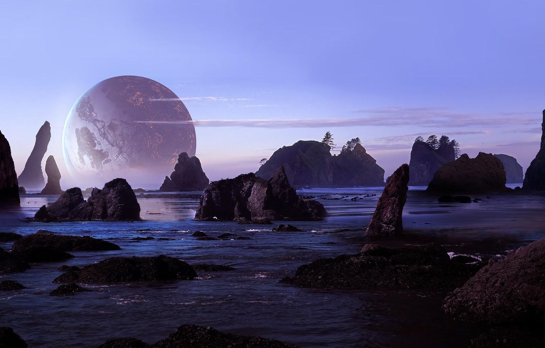 Photo wallpaper sea, beach, the sky, rocks, planet, art, sci-fi