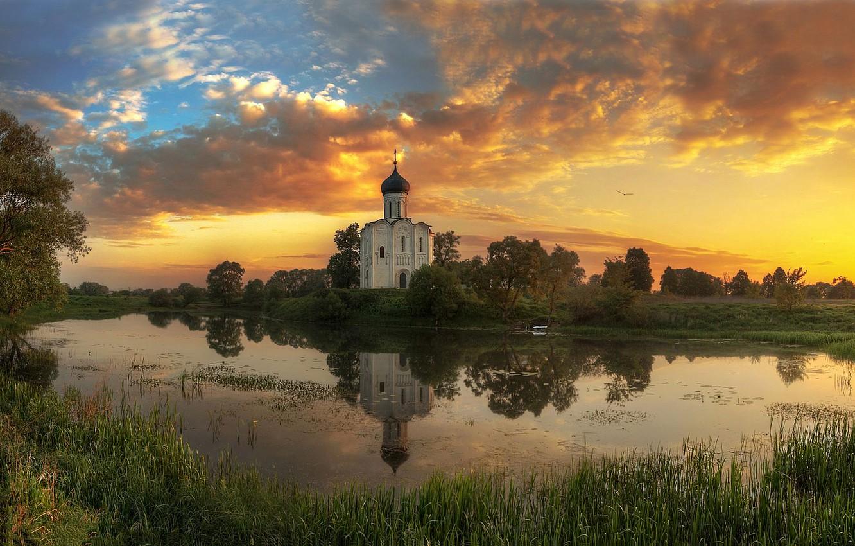 Photo wallpaper summer, sunset, river, Vladimir oblast, Ed Gordeev, Gordeev Edward, The Church Of The Intercession