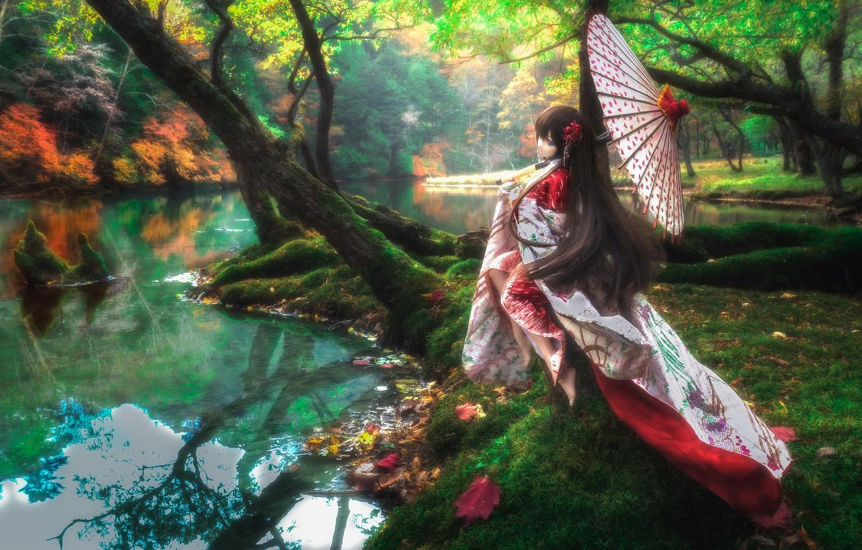 Photo wallpaper girl, trees, river, umbrella, hair, doll, outfit, Asian