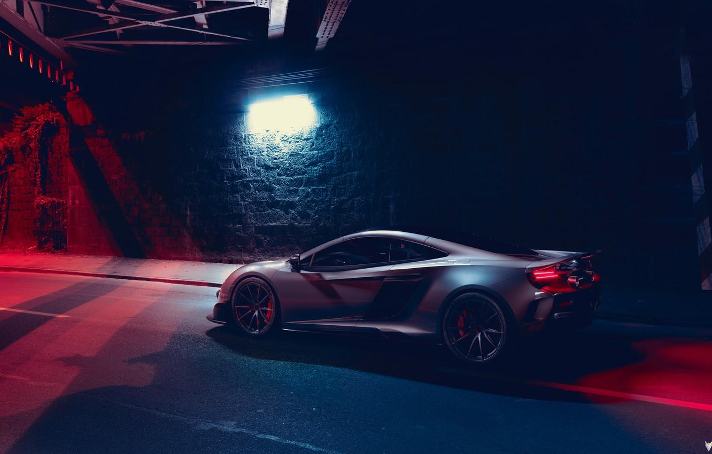 Photo wallpaper McLaren, Night, Machine, Car, Render, Supercar, Lighting, Rendering, Sports car, 675LT, McLaren 675LT, Grey, Transport …