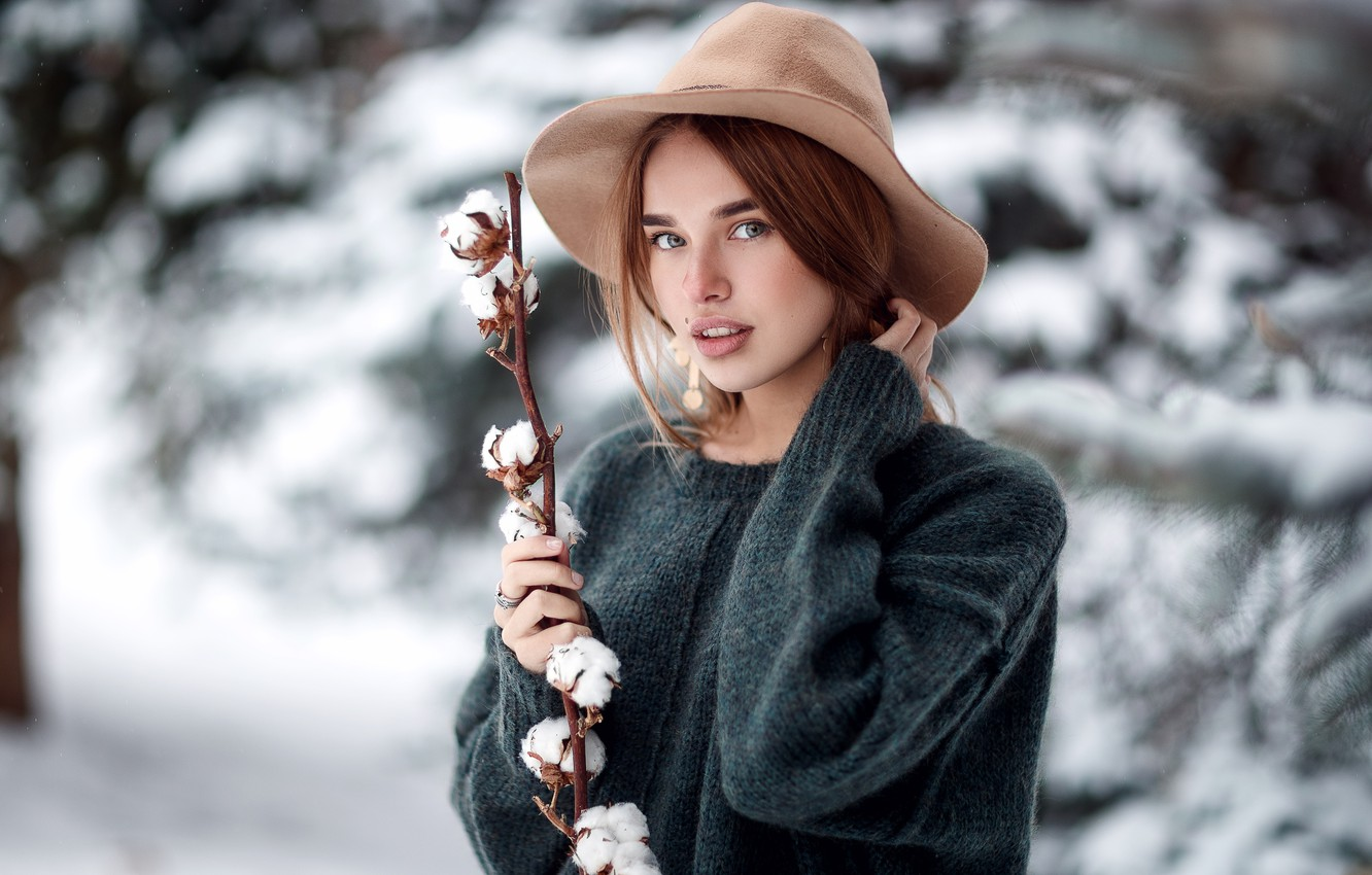 Photo wallpaper winter, look, snow, Girl, branch, hat, sweater, Sergey Sorokin, Luba Ivanova