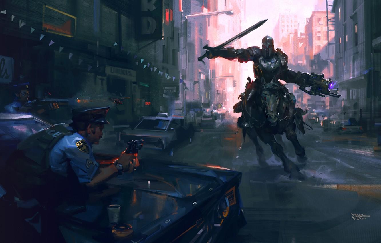 Photo wallpaper weapons, horse, police, sword, armor, art, rider, sci-fi, cops
