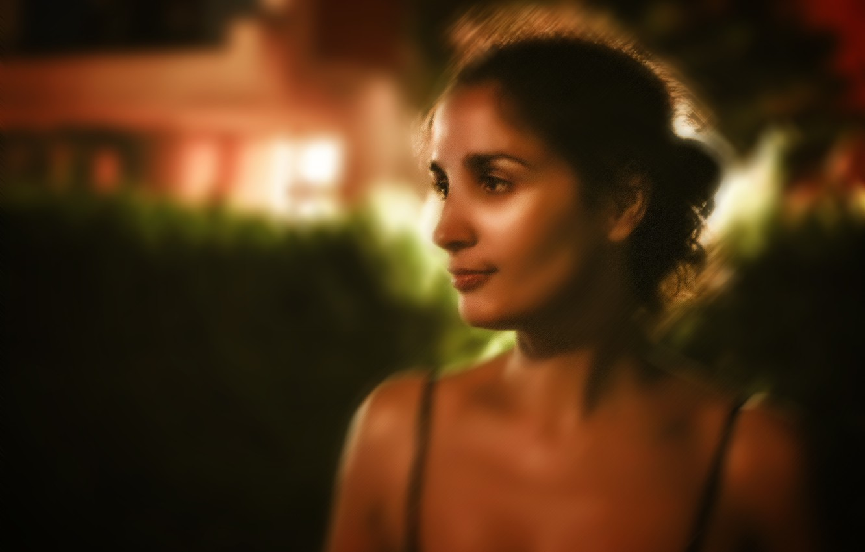 Photo wallpaper girl, brunette, lights, light, girl, night, art, beautiful, brunette, drawing, glance, Nargis, Kide FotoArt, Nargis, …