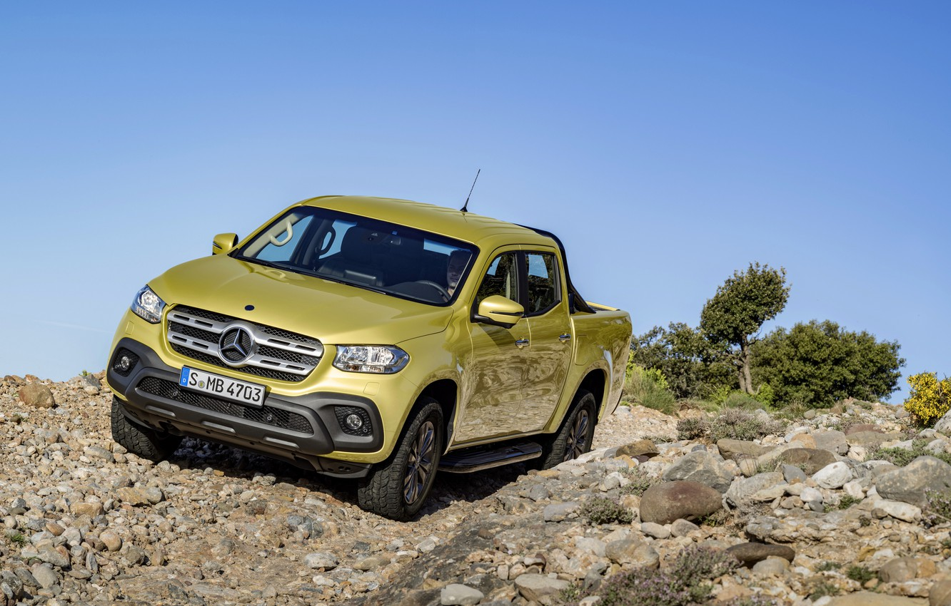 Photo wallpaper the sky, rock, stones, yellow, Bush, Mercedes-Benz, pickup, 2017, X-Class