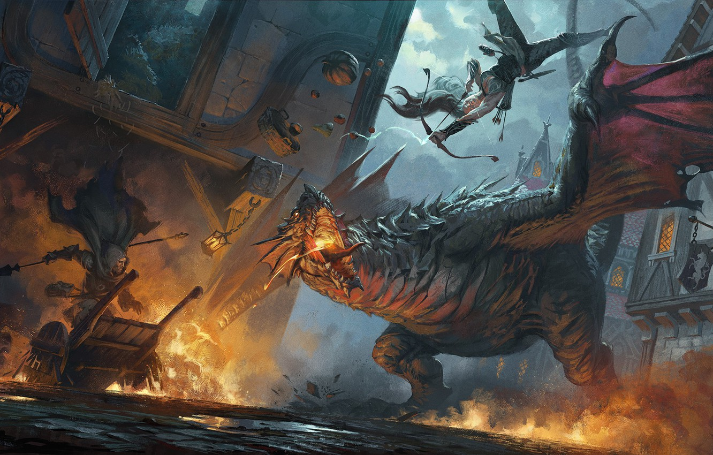Photo wallpaper the city, fire, dragon, Archer, battle, fantasy art, Hugh Pindur