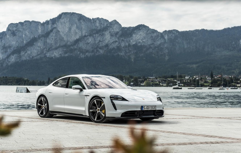 Photo wallpaper mountains, Porsche, Turbo S, the pond, 2020, Taycan