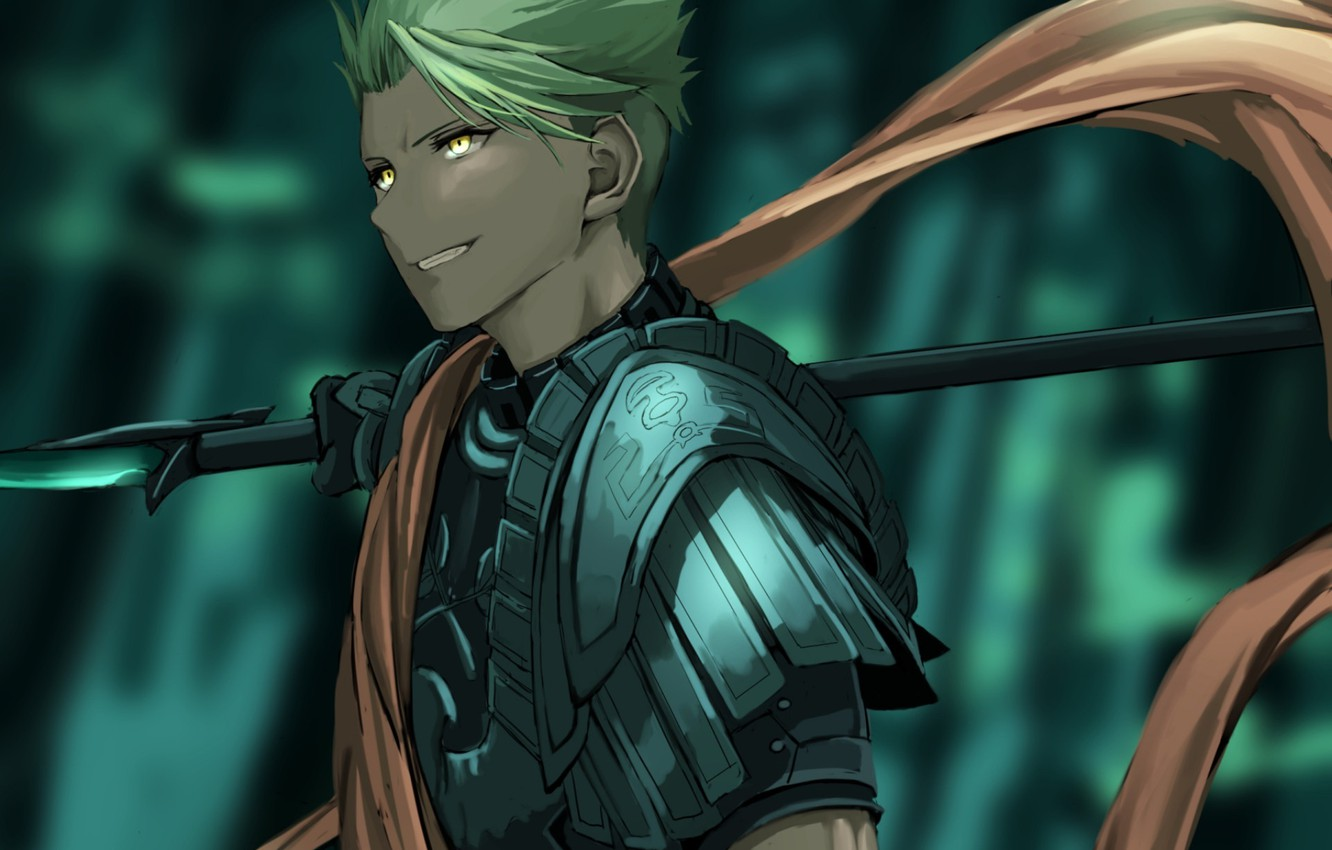 Photo wallpaper scarf, guy, spear, Lancer, Fate - Apocrypha, Fate Apocrypha