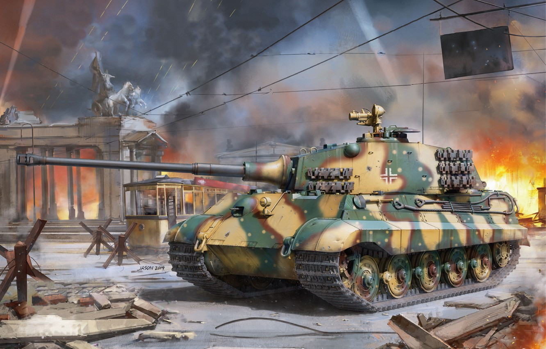 Photo wallpaper Tiger II, Sd. Car. 182, King Tiger, Heavy Tank, Anti-hedgehog
