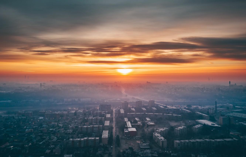 Photo wallpaper sunset, the city, fog, Lithuania, Kaunas