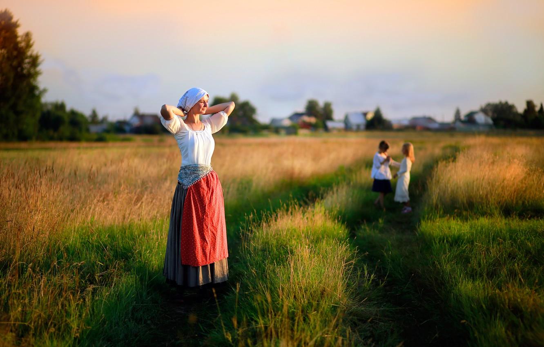 Photo wallpaper field, grass, girl, the sun, children, childhood