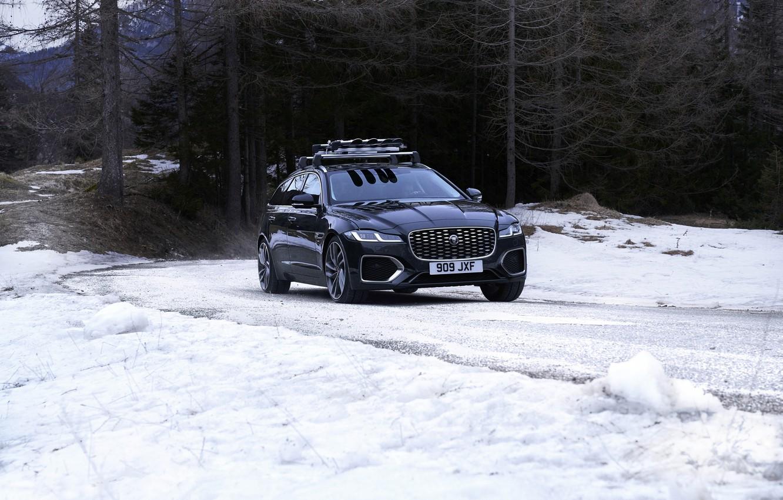 Photo wallpaper road, forest, snow, trees, Jaguar, universal, Jaguar XF, 2020, XF, XF Sportbrake
