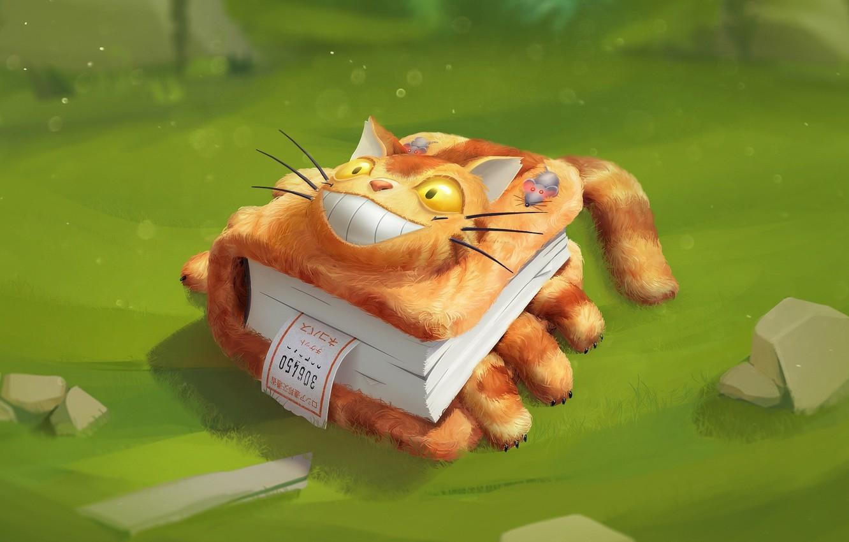 Photo wallpaper cat, mouse, art, book, children's, fantasy, Vitaly Latypov