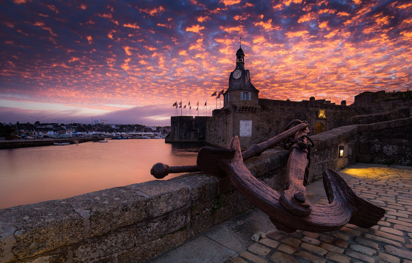 Photo wallpaper sea, clouds, sunset, old, castle, wall, France, watch, tower, construction, the evening, the fence, Bay, …