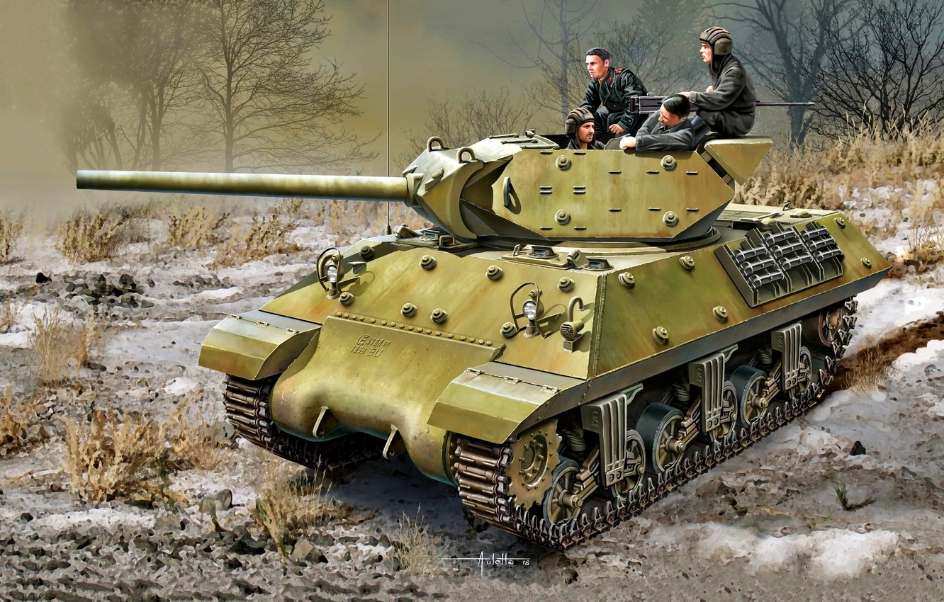 Photo wallpaper trees, dry grass, tank fighter, The Red Army, WWII, Lend-lease, M10
