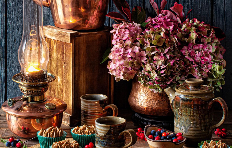 Photo wallpaper flowers, style, berries, lamp, kettle, mugs, cakes, hydrangea, chestnuts