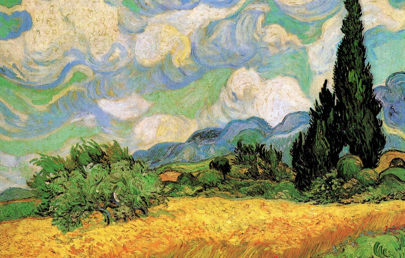 Photo wallpaper Vincent van Gogh, Wheat Field with, Galline Near, Cypresses at the Haute, Eygalieres
