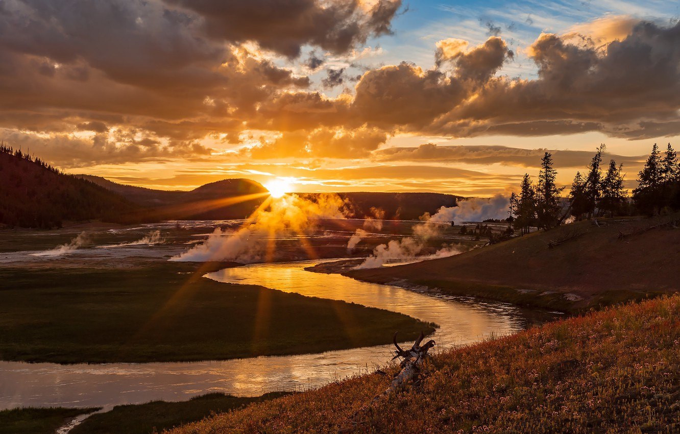 Photo wallpaper the sky, the sun, clouds, rays, trees, river, hills, valley, geysers