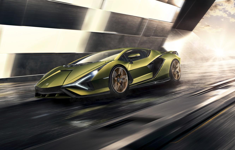 Photo wallpaper machine, movement, Lamborghini, supercar, hybrid, Later