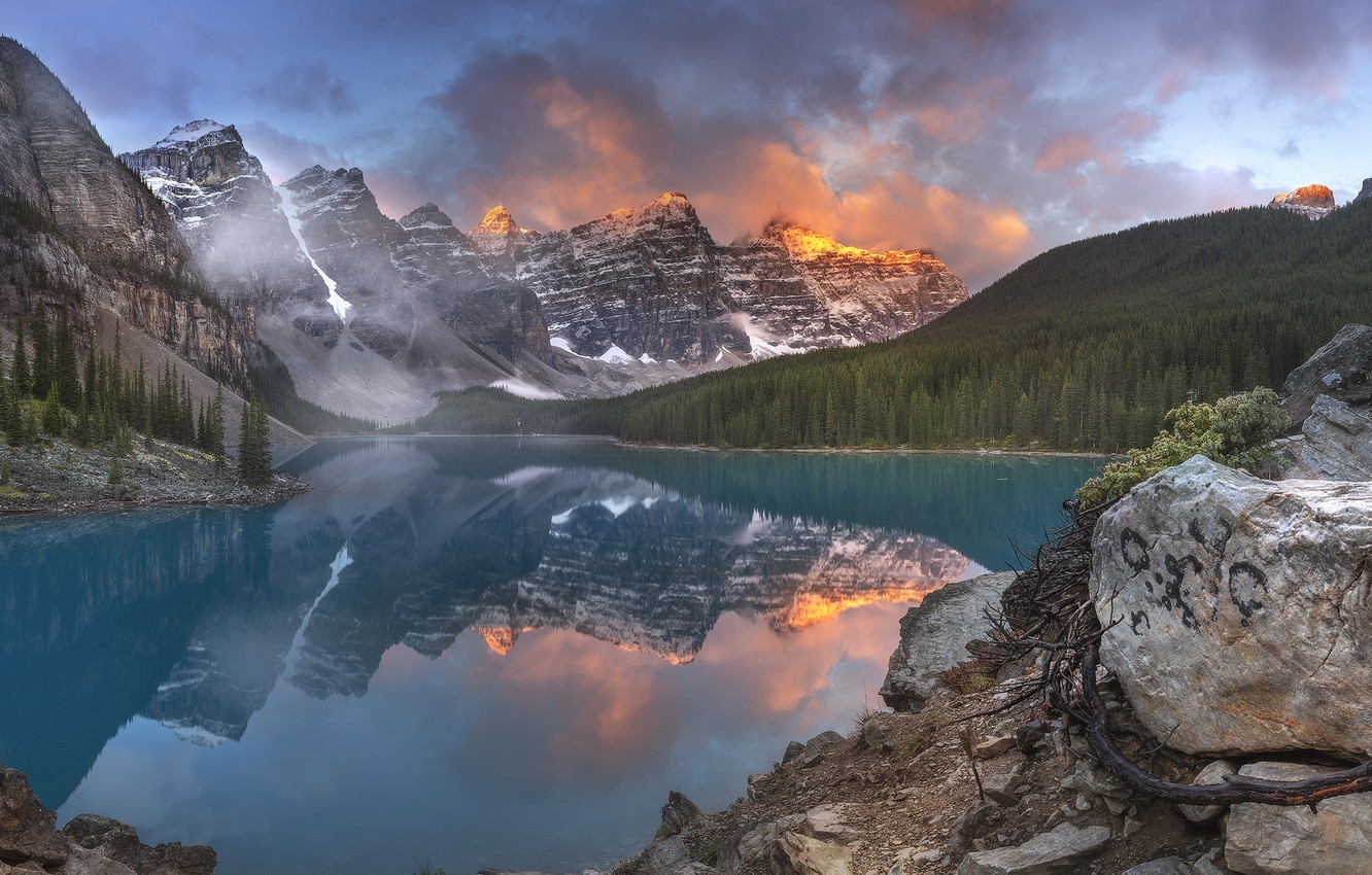 Photo wallpaper clouds, landscape, mountains, nature, fog, lake, reflection, stones, rocks, morning, Canada, Albert, Alberta, Canada, forest, …
