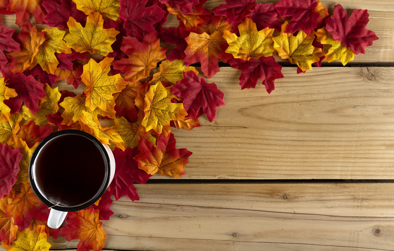 Photo wallpaper autumn, leaves, background, Board, colorful, maple, wood, autumn, leaves, maple, Cup of tea, tea cup