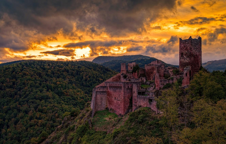 Photo wallpaper Sunset, France, Saint-Ulrich Castel