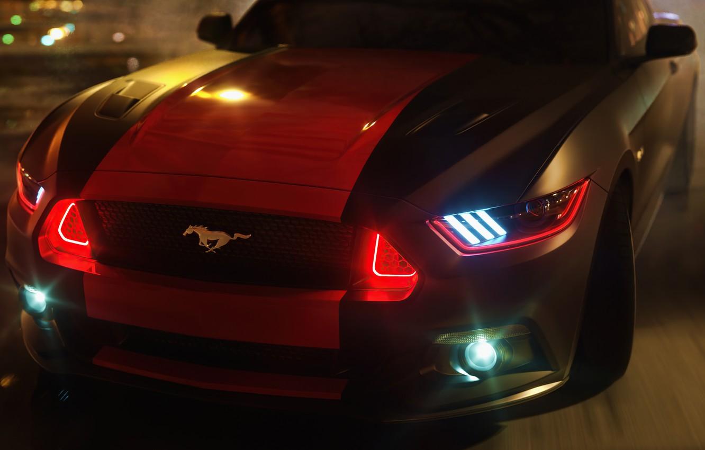 Photo wallpaper lights, mustang, drift, ford