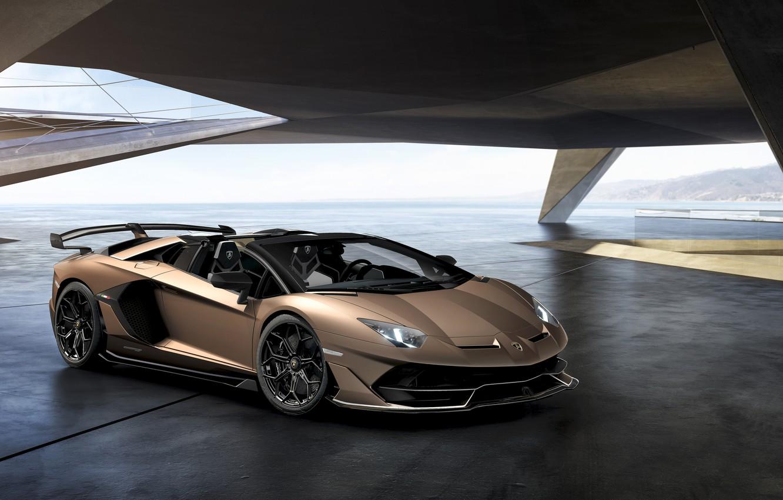Photo wallpaper machine, light, lights, Lamborghini, sports car, drives, roadster, Aventador, SVJ