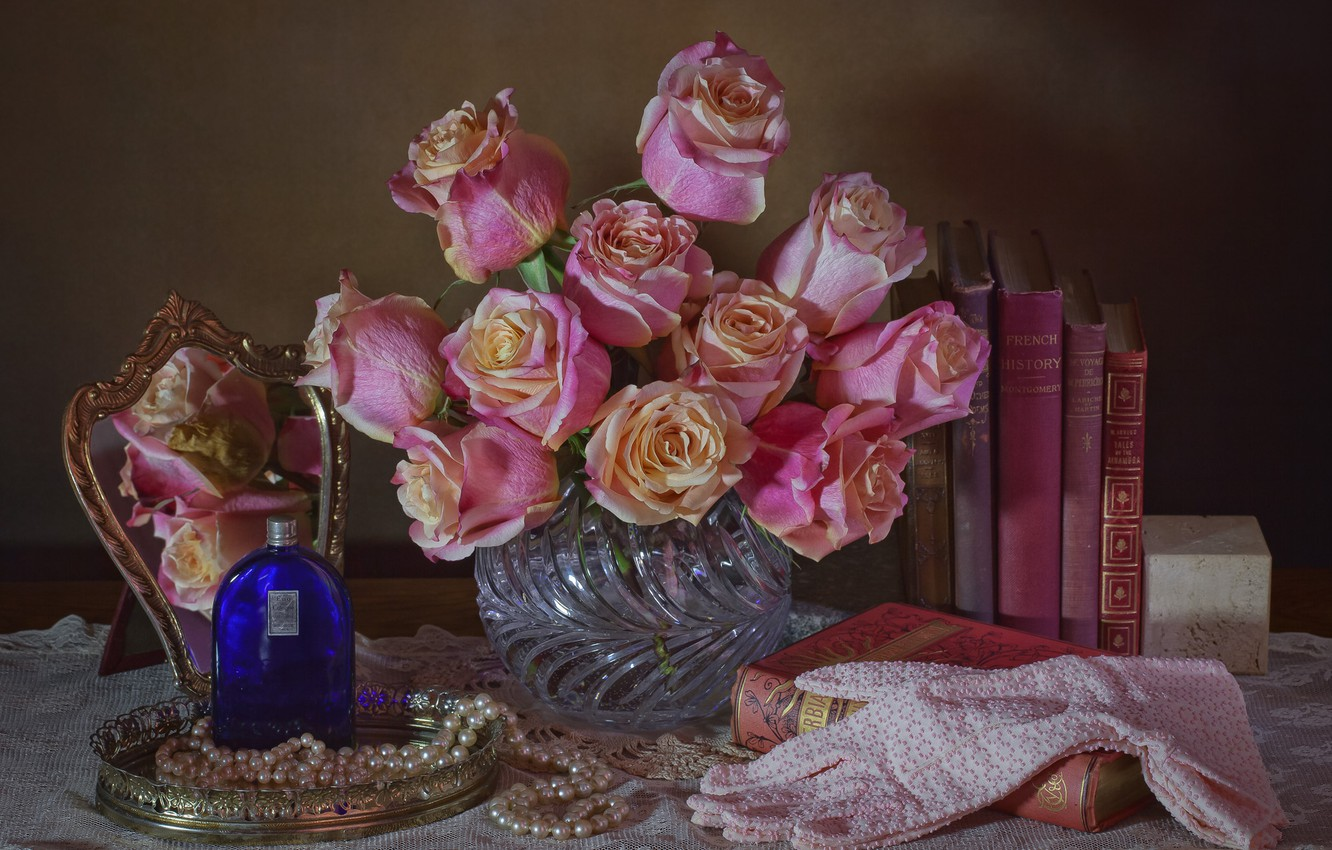 Photo wallpaper flowers, style, books, roses, perfume, mirror, pearl, gloves, still life