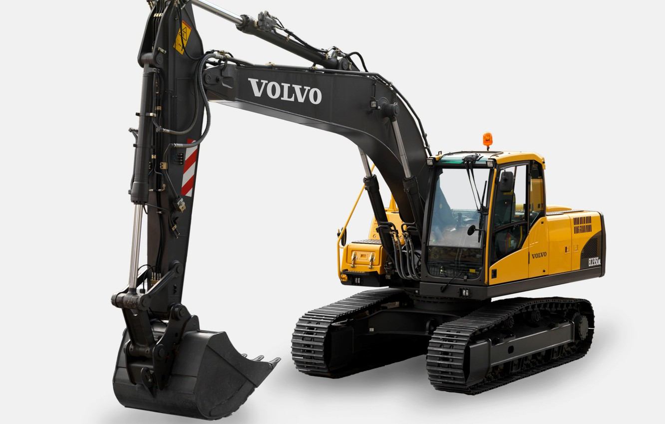 Photo wallpaper Volvo, white background, excavator, EC235C NL