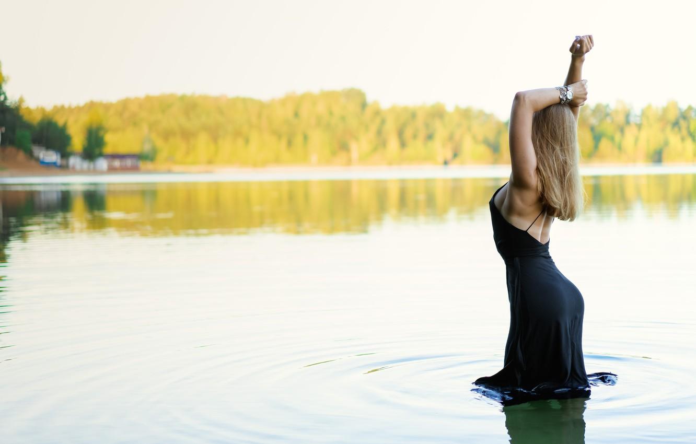 Photo wallpaper ass, water, pose, hair, dress, Julia Melnikova, Ilya Pistols