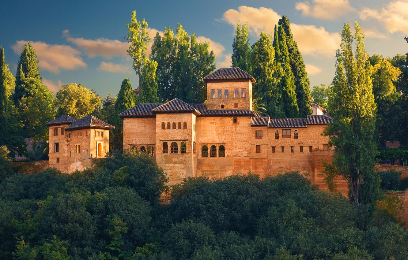 Photo wallpaper greens, the sky, the sun, clouds, trees, castle, fortress, Spain, Alhambra, Granada