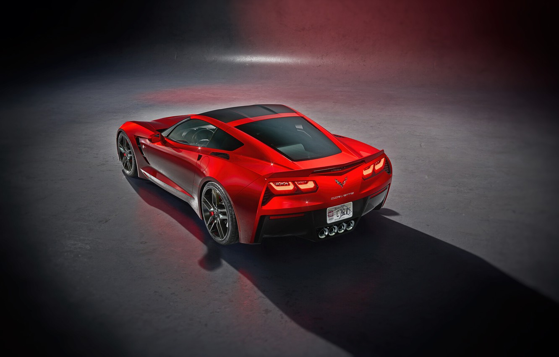 Photo wallpaper Red, Auto, Corvette, Machine, Chevrolet Corvette, Supercar, Sports car, C7 Corvette, Transport & Vehicles, by …