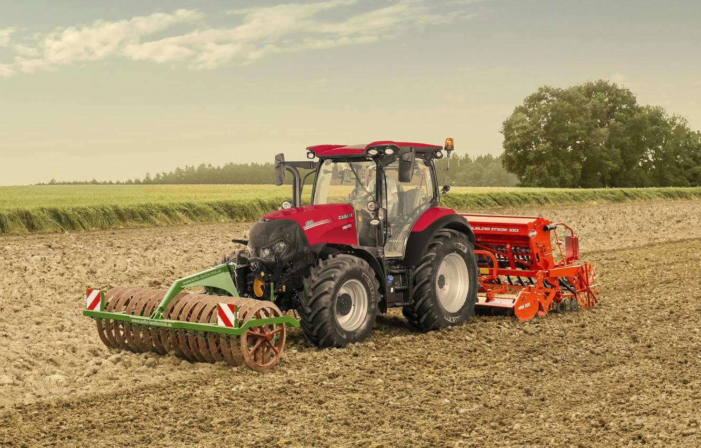 Photo wallpaper field, tractor, Case, tractor, 130 CVXDrive, IH Versum