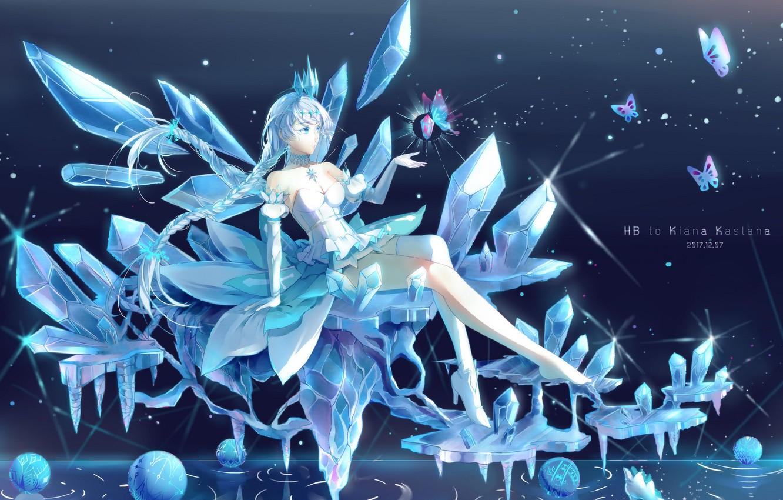 Photo wallpaper girl, ice, magic ice