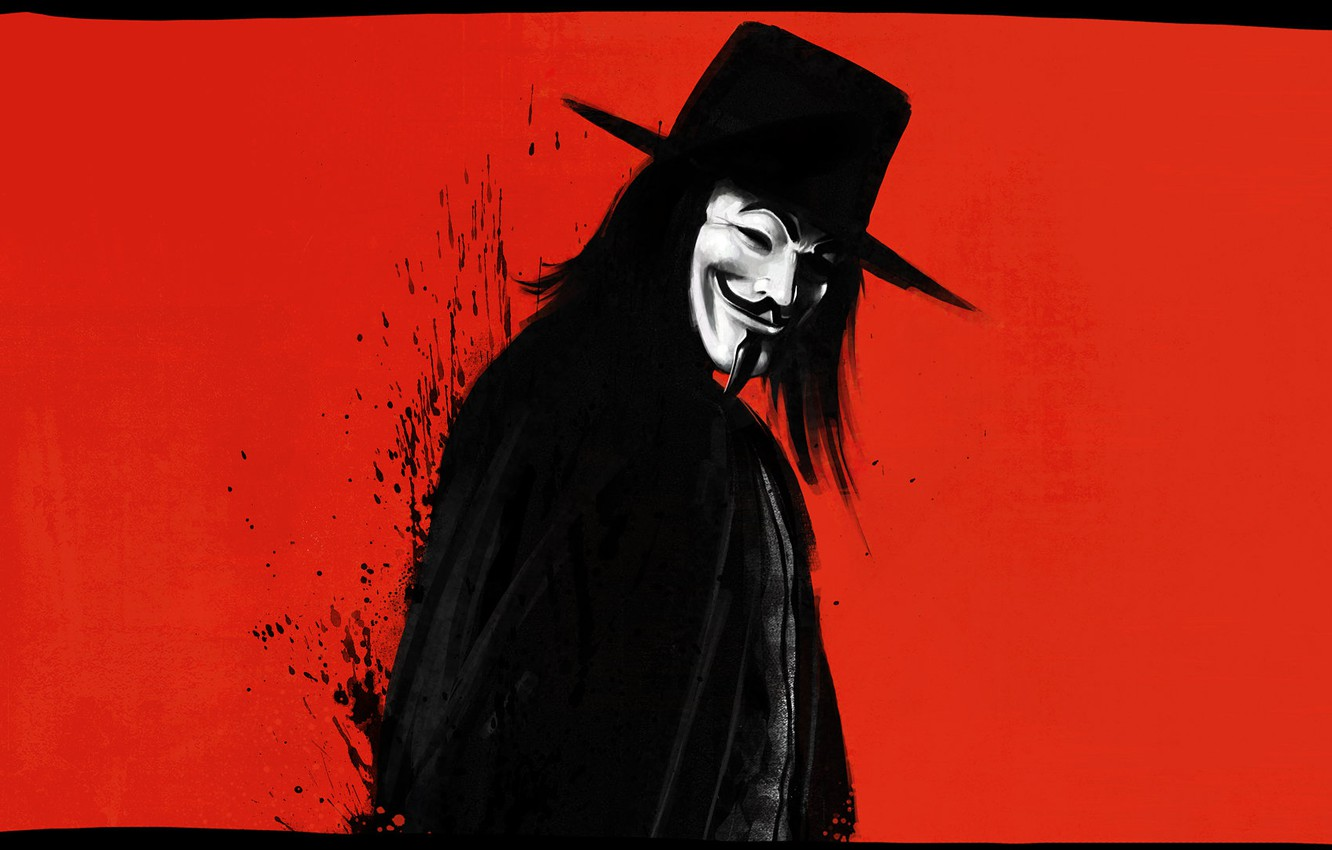 Photo wallpaper Red, Minimalism, Background, Mask, Revenge, Art, Art, Anonymous, Guy Fawkes, Anonymous, Minimalism, Character, Mask, Guy …