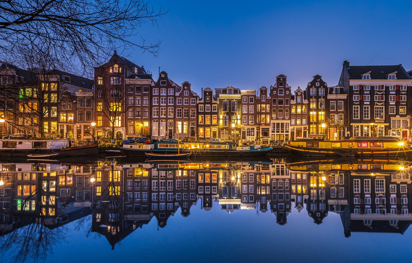 Photo wallpaper reflection, building, home, pier, Amsterdam, Netherlands, night city, Amsterdam, Netherlands, Singel Canal, The Singel Canal