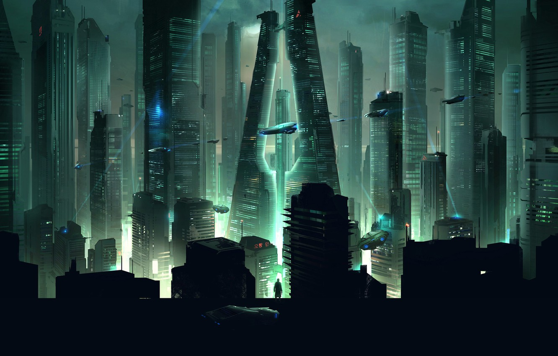 Photo wallpaper Night, The city, Future, Skyscrapers, Fiction
