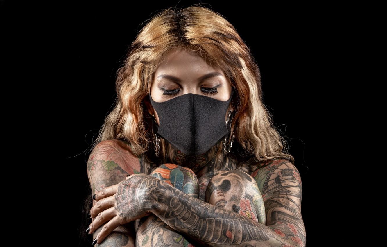 Photo wallpaper girl, mask, tattoo