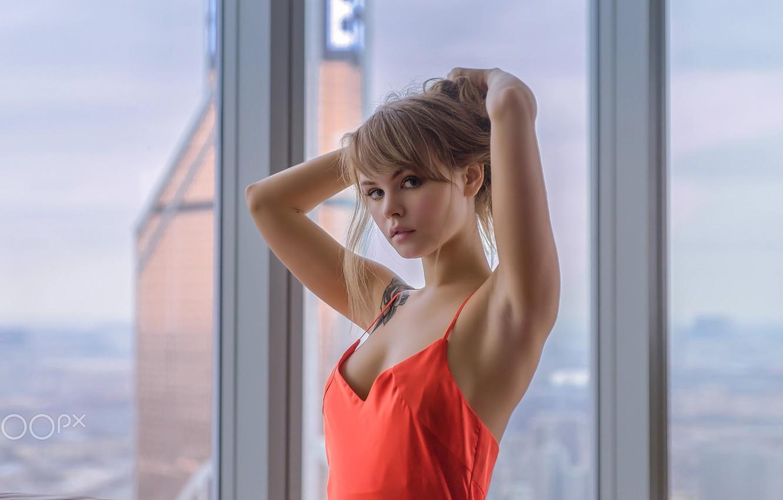 Photo wallpaper girl, cleavage, long hair, dress, brown hair, brown eyes, breast, photo, photographer, model, tattoo, window, …