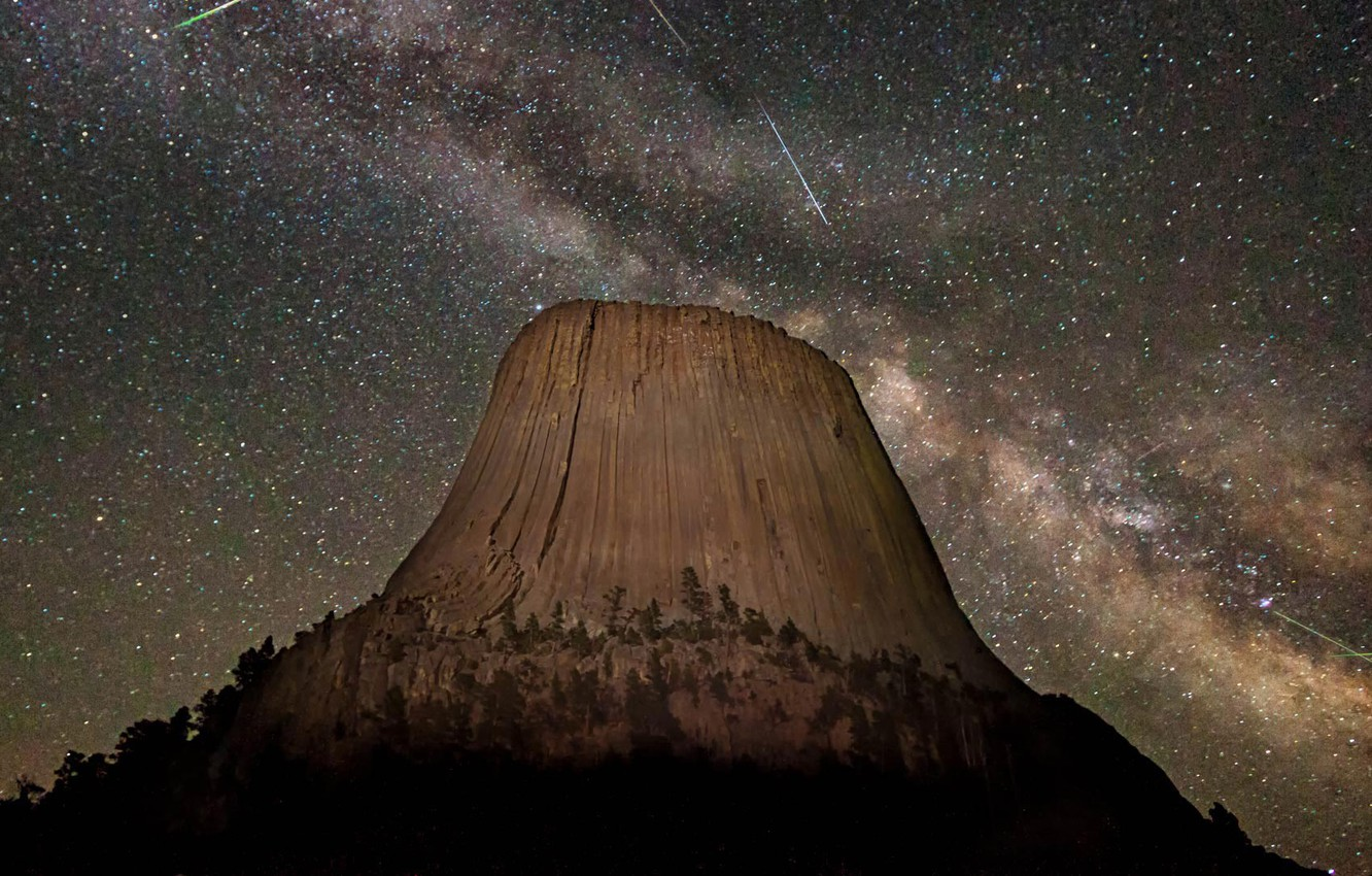 Wallpaper Stars Wyoming Usa Meteor Shower Devil S Tower