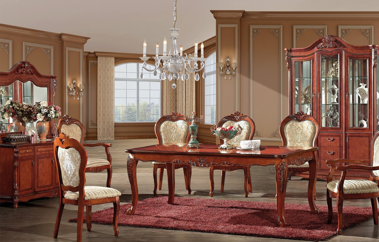 Photo wallpaper table, furniture, chairs, interior, mirror, chandelier, vases, interior, dining room
