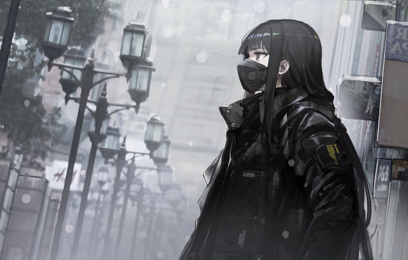 Photo wallpaper loneliness, mediocrity, respirator, quarantine, in the mask, black hair, black jacket, insulation, deserted city, depressive