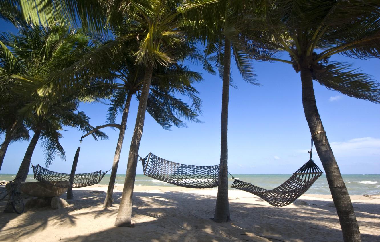 Photo wallpaper sand, sea, wave, beach, summer, the sky, palm trees, shore, hammock, summer, beach, sea, seascape, …