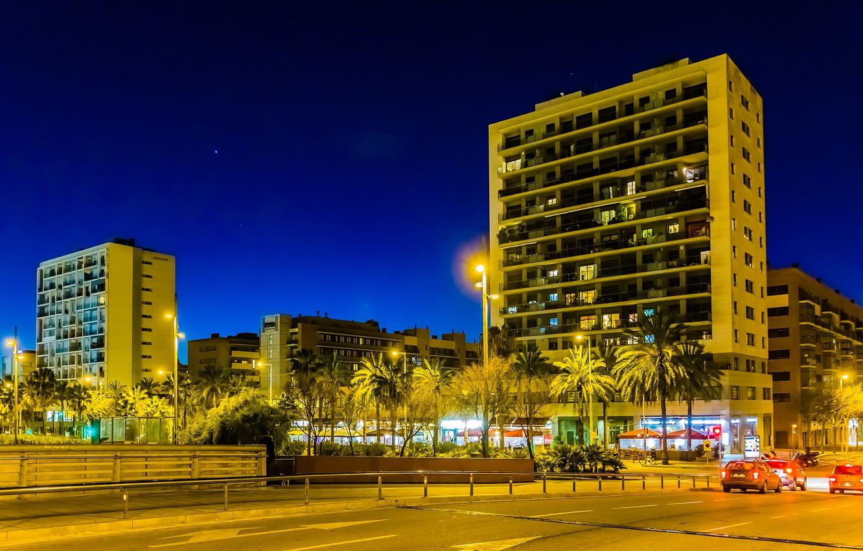 Photo wallpaper road, trees, machine, night, lights, palm trees, home, lights, Spain, street, Barcelona