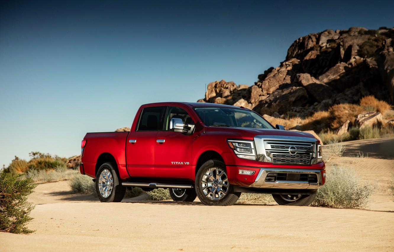Photo wallpaper sand, rocks, Nissan, pickup, 4x4, Titan, 2020, V8, Titan SL